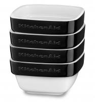 Набор керамических мини чаш KitchenAid квадратных д/запекания (4шт.), 4х0.22л, отделка чёрная (KBLR04RMOB)