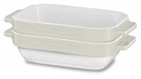 Набор керамических чаш KitchenAid прямоугольных д/запекания (2шт.), 2х0.45л, отделка кремовая (KBLR02MBAC)