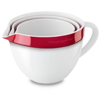 Набор керамических чаш KitchenAid круглых д/запекания, смешивания (3шт.), 1.4/1.9/2.8л, отделка красная (KBLR03NBER)
