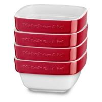 Набор керамических мини чаш KitchenAid квадратных д/запекания (4шт.), 4х0.22л, отделка красная (KBLR04RMER)
