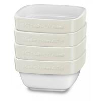 Набор керамических мини чаш KitchenAid квадратных д/запекания (4шт.), 4х0.22л, отделка кремовая (KBLR04RMAC)