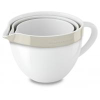 Набор керамических чаш KitchenAid круглых д/запекания, смешивания (3шт.), 1.4/1.9/2.8л, отделка кремовая (KBLR03NBAC)