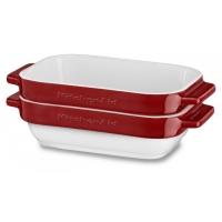 Набор керамических чаш KitchenAid прямоугольных д/запекания (2шт.), 2х0.45л, отделка красная (KBLR02MBER)
