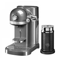 Кофемашина KitchenAid капсульная Artisan Nespresso и Aeroccino, объём бака 1.4л, серебряный медальон (5KES0504EMS)